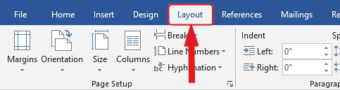 Page Layout or Layout Tab: Change margins in Word