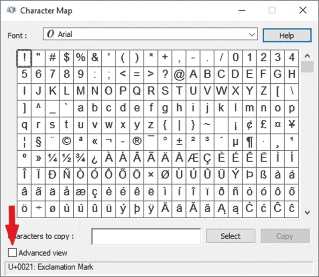 Advanced view of the Character map dialog box