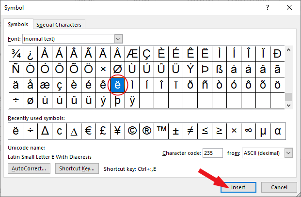 e with two dots in MS Word