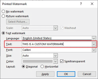 Enter your custom watermark text in the Text: field