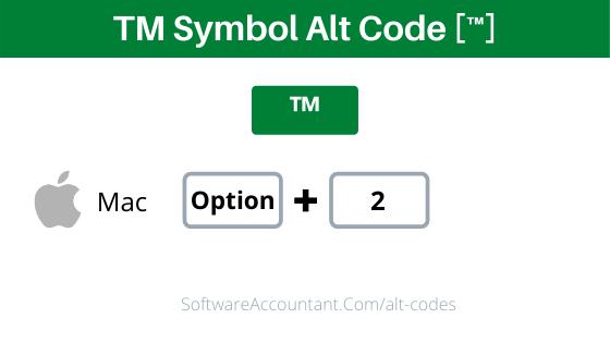 tm symbol shortcut for Mac