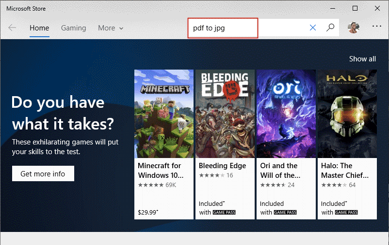 Search for PDF to JPG in the Store App Window