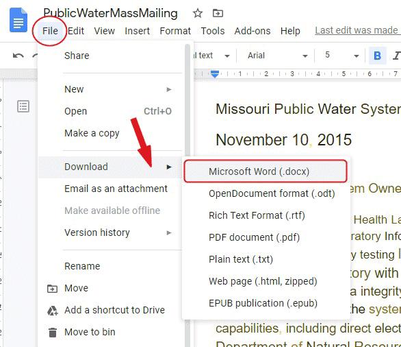 Download Google Docs as Microsoft Word