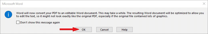 Word will convert you pdf to editable Word format. Click OK