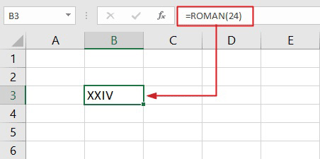 convert numbers to roman numerals using Excel