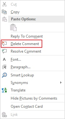 delete comment in Word
