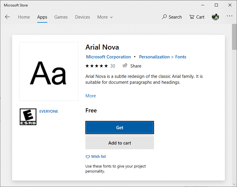 Click on the Get button to download that font onto Windows 10