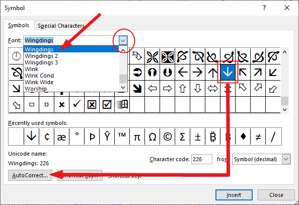 creating a custom down arrow symbol shortcut on Windows