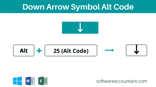 downward arrow alt code shortcut