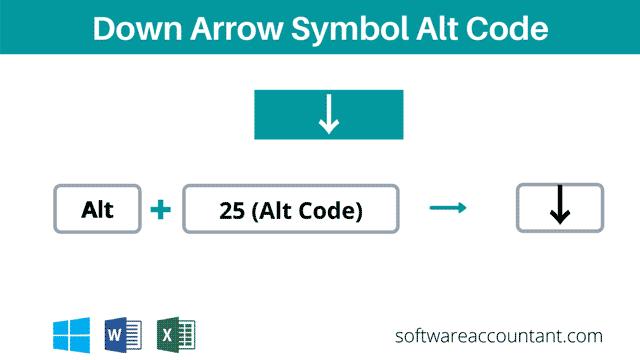 downward arrow alt code shortcut