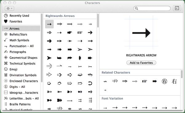 inserting down arrow symbol on Mac