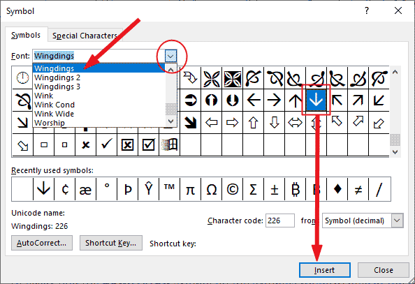insert downward arrow in Word or Excel or PowerPoint