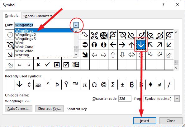 insert downward arrow in Word or Excel or PowerPoint