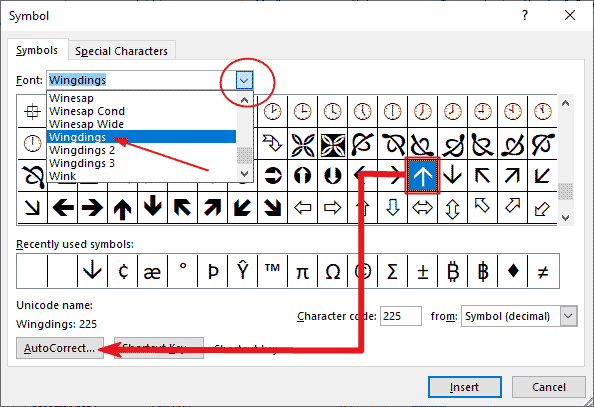 customly make you upward symbol shortcut in Word