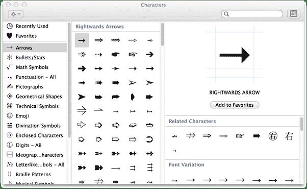 right arrow symbol mac