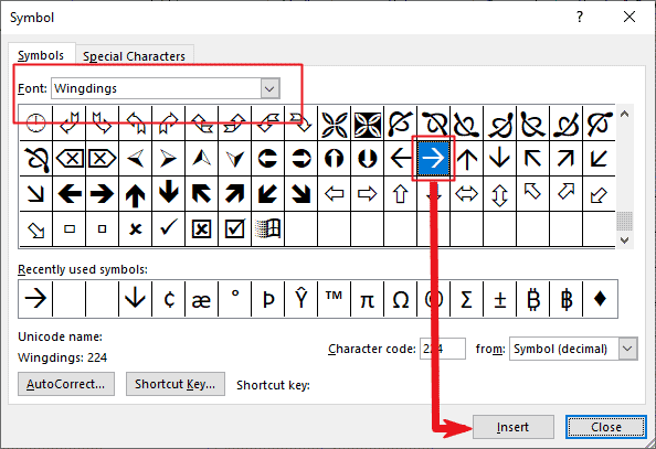 inserting arrow symbol in Word or Excel