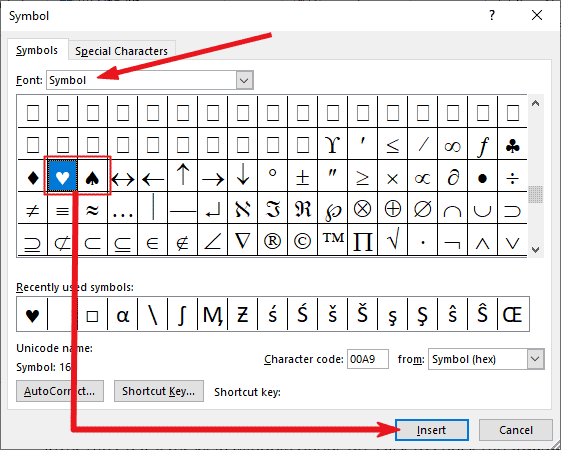 Inserting the Heart symbol text in Word or Exce