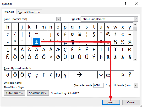 Inserting plus or minus symbol in Word or Excel