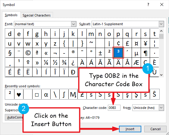 Inserting the cubed symbol in Word or Excel for Windows