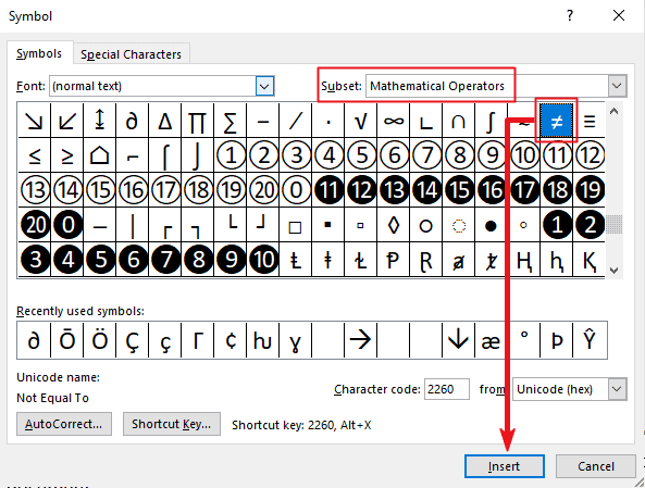 how to insert Equal sign in Word or Excel