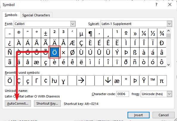 creating a custom O umlaut shortcut in Word