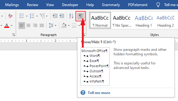 Removing the Paragraph Symbol from a Word document by turning it off