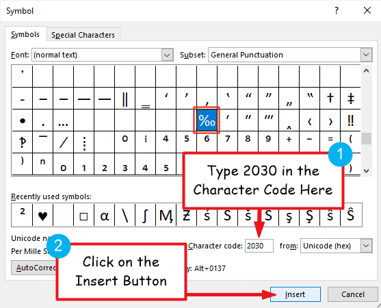 Insert the Per Mille symbol in Word or Excel