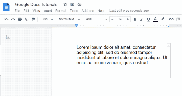 adding a text box in Google Docs with a single cell table