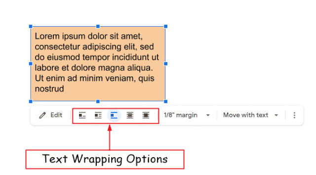 wrapping text box in Google Docs
