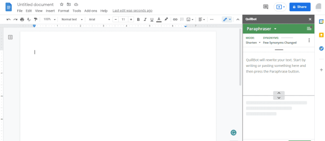 QuillBot in Google Docs Review