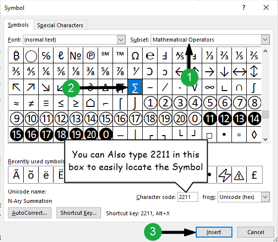 Inserting the Summation symbol in Word