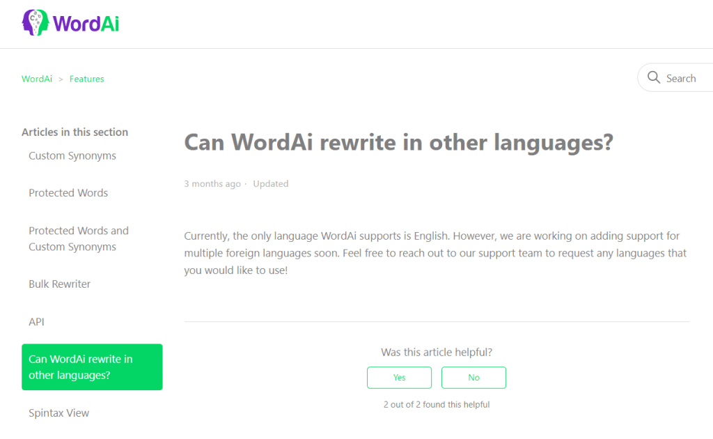 WordAi does not support multiple languages for article rewriting