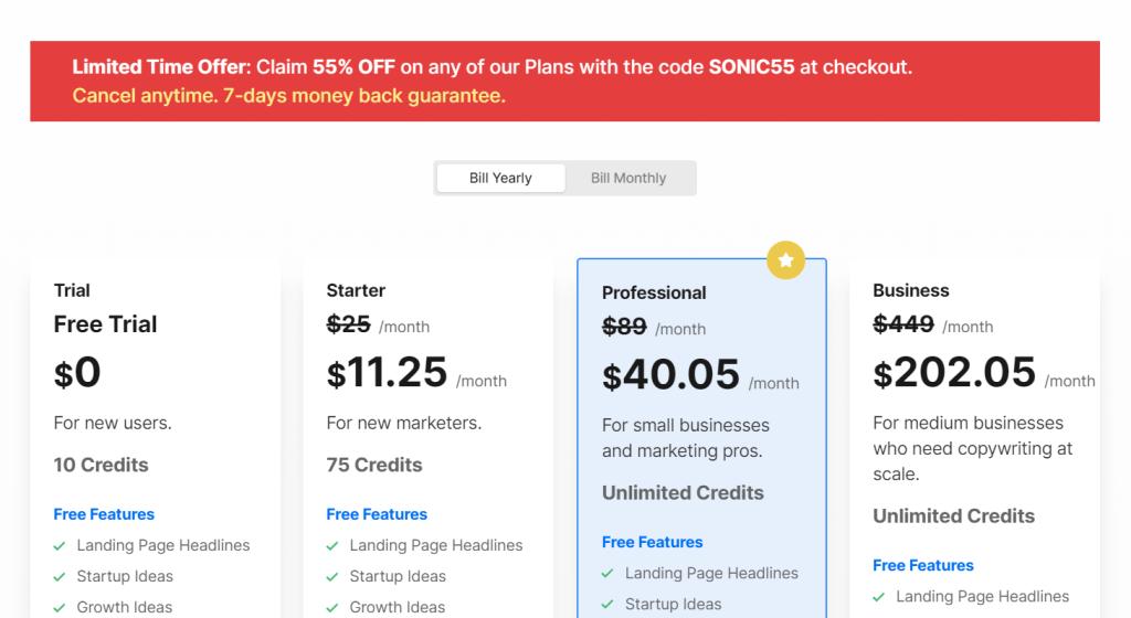 writesonic AI content Generator Tool Pricing