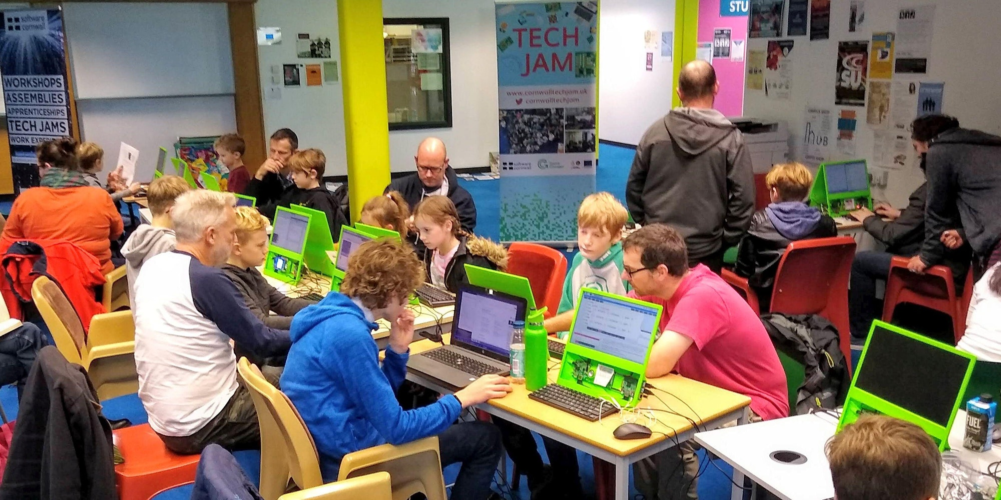 Children coding at computers