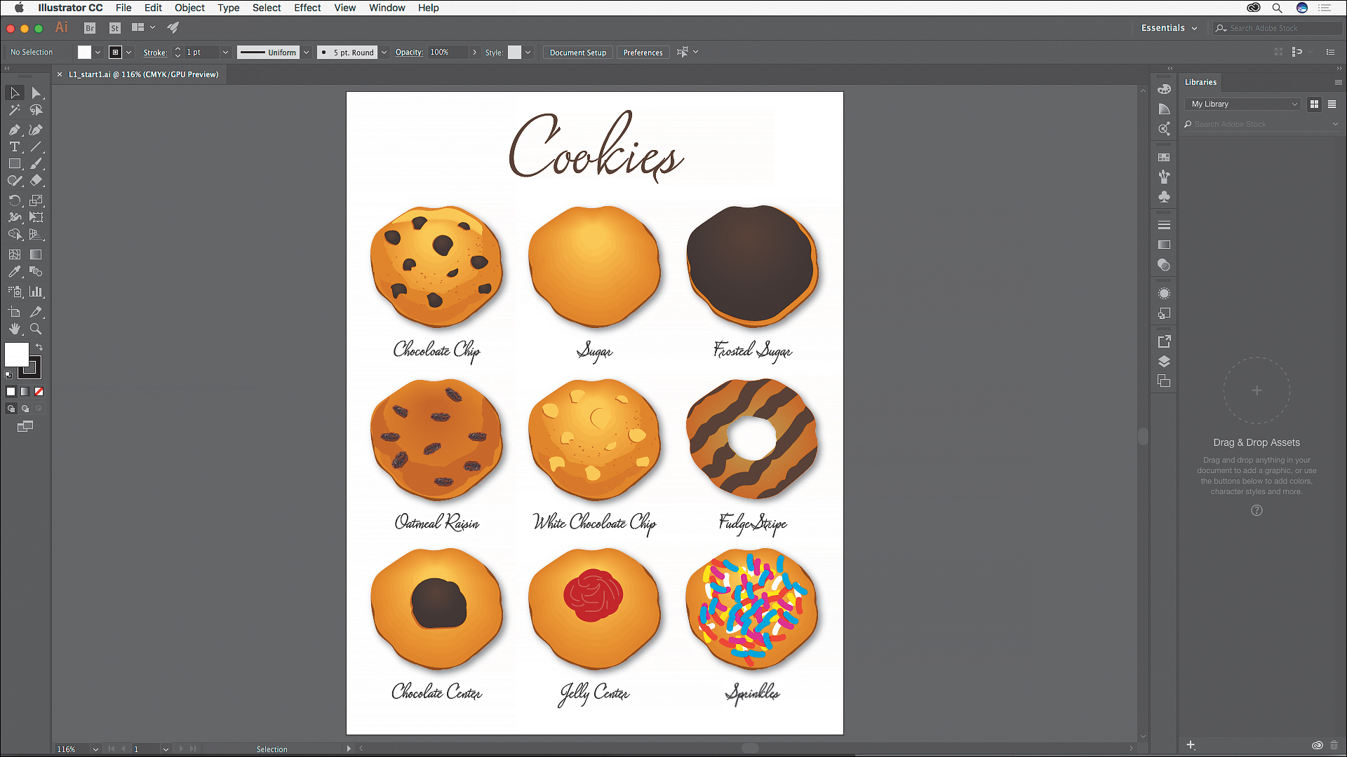 Adobe Illustrator CC 2017 cookies editing