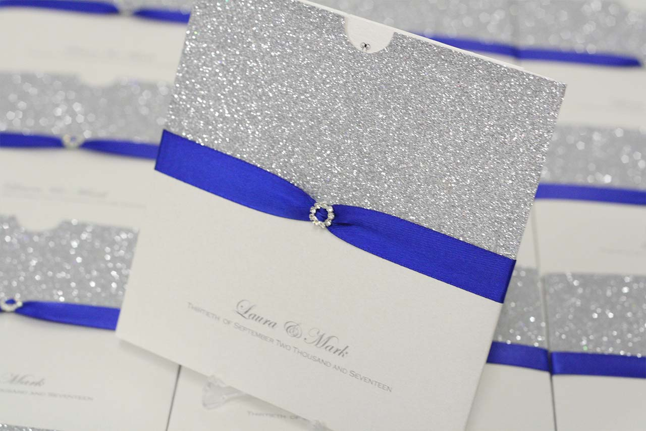 Royal Blue Silver Glitter Wallet Invite Special Occasions
