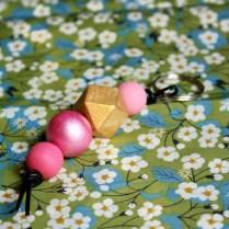Porte-clés-géométrique-rose-clair
