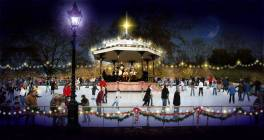 Hyde Park bandstand rink christmas night