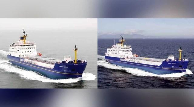 Tàu Pacific Heron (trái) và tàu Pacific Egret của Anh tới Nhật hôm 21/3 để vận chuyển 331kg plutonium sang Mỹ. (Ảnh:web.vdw.co.za)