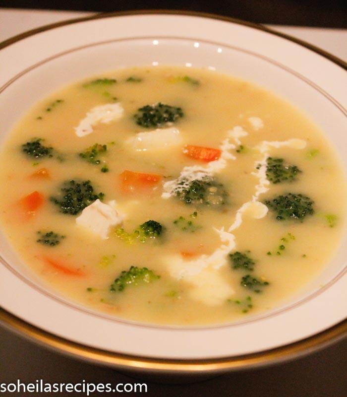 Suppe med brokkoli, gulrot og havregryn