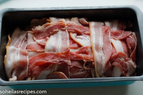 Bacon og kjøttdeig i form