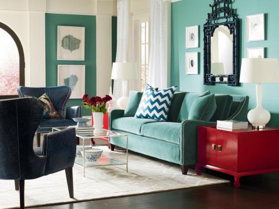 red side tables jazz up turquoise interior