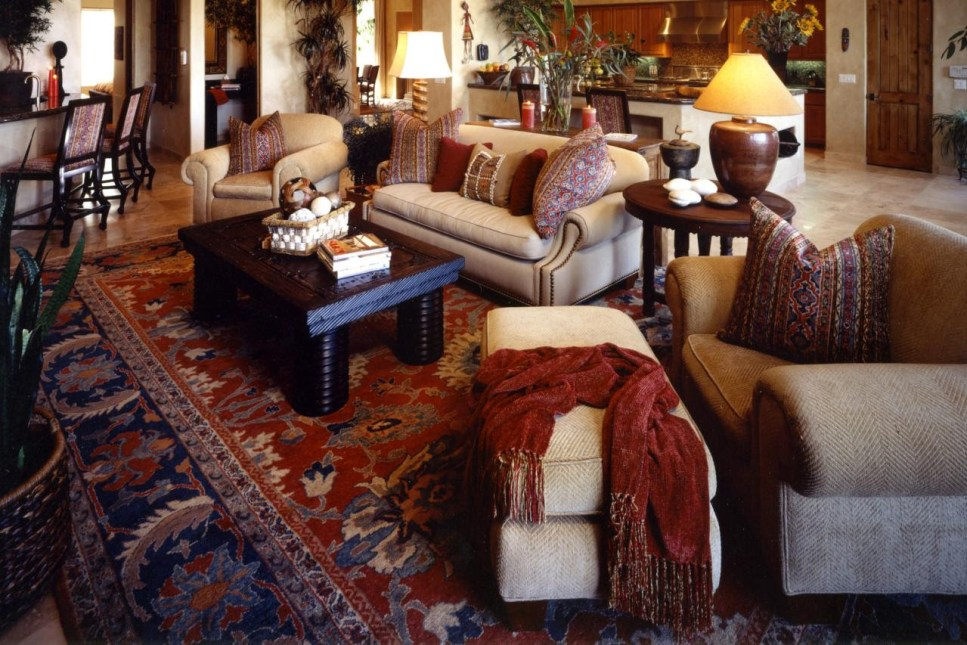 Deep shades of red in traditional living area