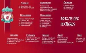 jadual perlawanan liverpool 2012/13
