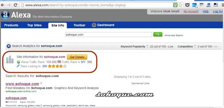 alexa ranking sohoque.com