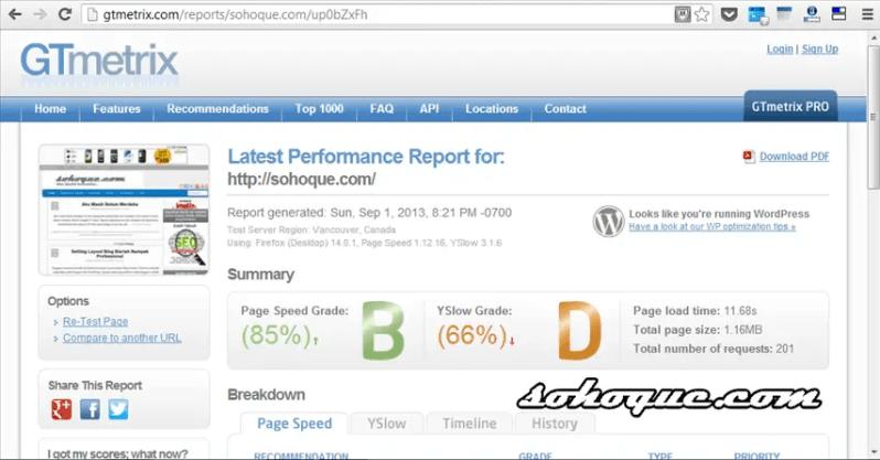 analisa kelajuan blog di GTmetrix.com