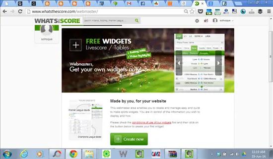 klik button create new untk memulakan design widget piala dunia 2014