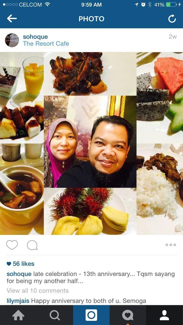 Sambutan ulangtahun perkahwinan ke 13 di Resort Cafe