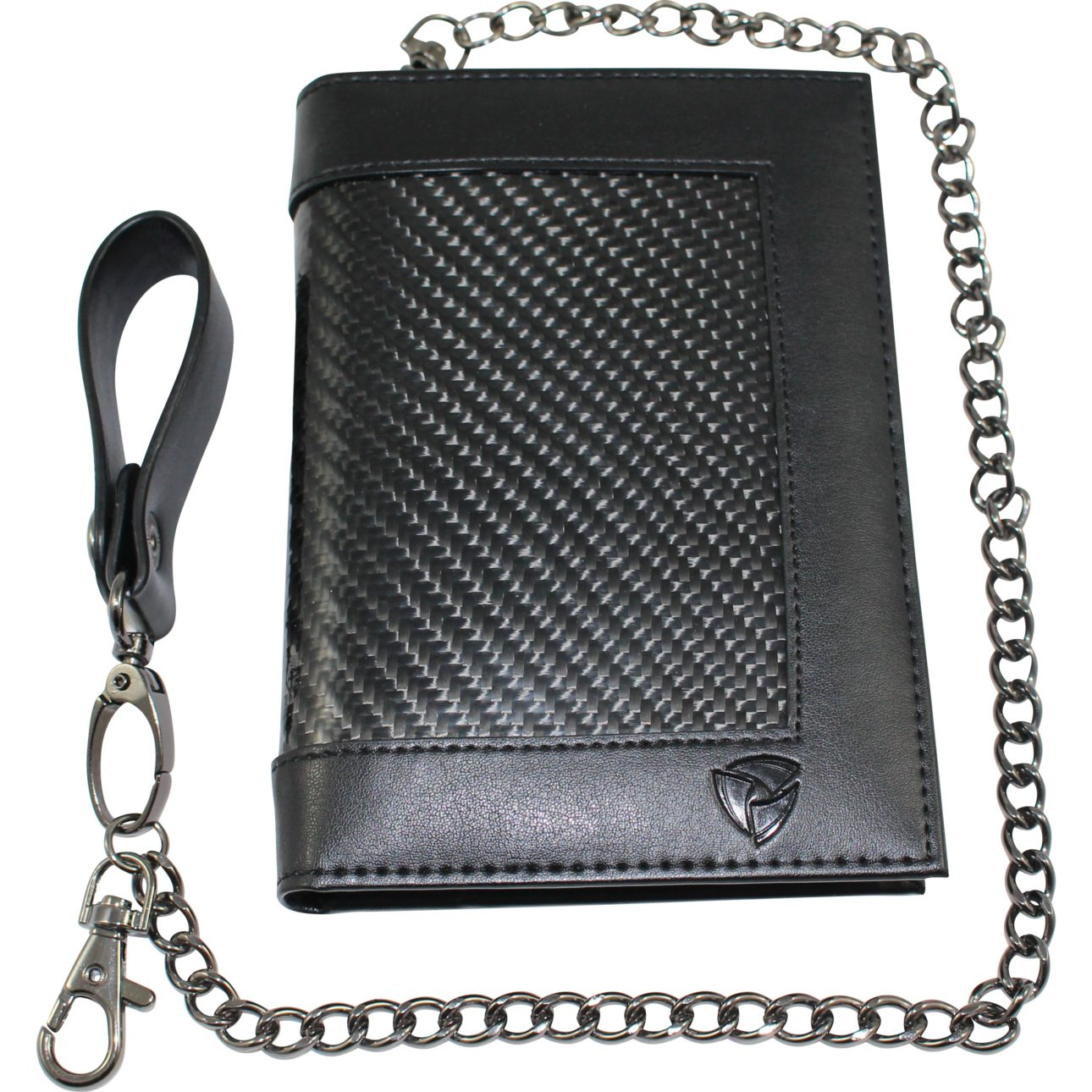 Carbon Fiber Leather RFID Blocking Anti-theft Travel Passport Wallet With Removable Chain by SOS EDC™ - Never Lose Your Wallet Again!