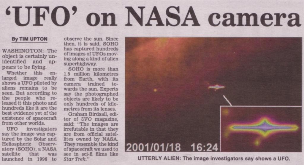 Artikel koran tentang UFO